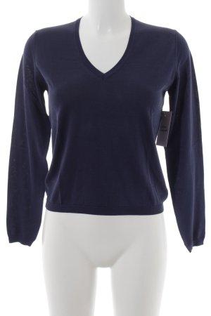 malo V-Ausschnitt-Pullover blau klassischer Stil