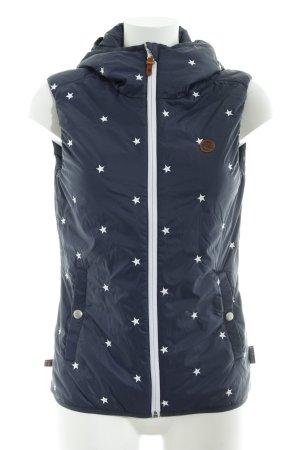 Maloja Chaleco con capucha azul oscuro-blanco Patrón de estrellas look casual