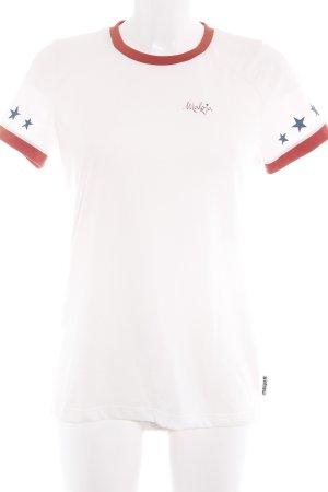 Maloja T-Shirt creme-cognac Sternenmuster sportlicher Stil