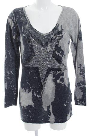 Malvin Cashmerepullover grau-dunkelblau Sternenmuster Casual-Look