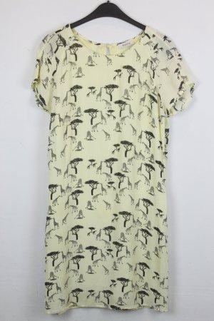 Malvin Kleid Blusenkleid Gr. 38 hellgelb mit schwarzem Safari Print (18/5/307)