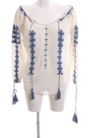 Malvin Langarm-Bluse wollweiß-blau Blumenmuster Elegant