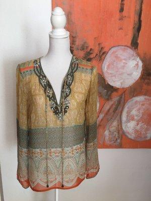 Malvin Seiden Tunika Bluse ❤️ Gr 36 mit Stickerei Gelb Orange