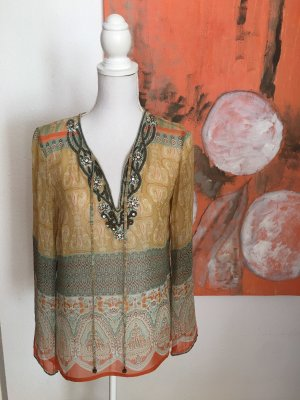 Malvin Seiden Tunika Bluse Gr 36 mit Stickerei Gelb Orange