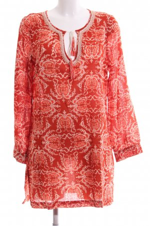 Malvin Tunikabluse rot-wollweiß Blumenmuster Casual-Look