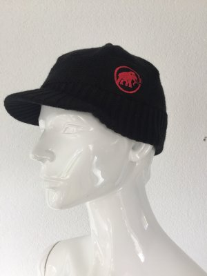 Mammut Chapeau en tricot noir-rouge