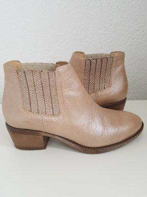 MANAS Ankle Boots/Stiefeletten, Gr.37, Leder, beige/perlmutt