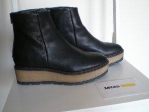 MANAS Booties Gr.39 schwarz mit Crepe-Plateau Trend-Booties Leder