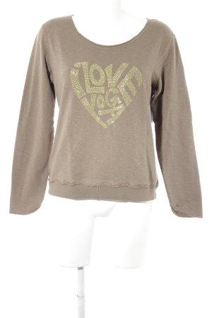 Mandala Sweatshirt graubraun-limettengelb Motivdruck Casual-Look