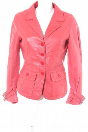Mandarin Lederjacke rot Business-Look