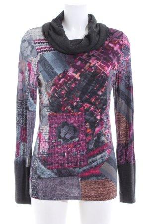 Mandarin Turtleneck Shirt allover print casual look
