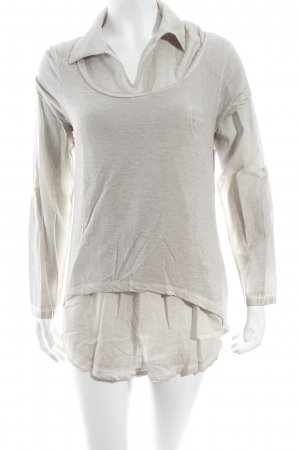 Mandarin Shirt creme-hellgrau meliert Casual-Look