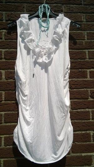 Mandarin Shirt/ Minikleid weiß ärmellos