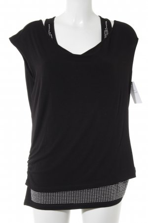 Mandarin Camiseta negro-color plata look casual