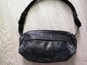 Mandarina Duck Handtasche / kleine Schultertasche schwarz Leder