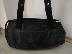 Mandarina Duck Handtasche Leder schwarz mit Blütenmotiv