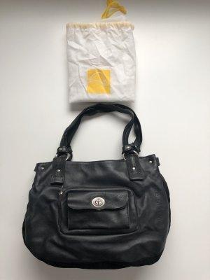 Mandarina Duck Handtasche, schwarz, weiches Nappa- und Veloursleder