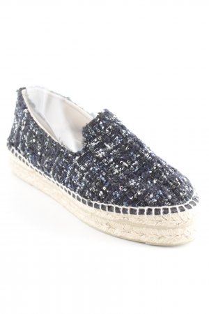 Manebi Espadrille Sandals dark blue-silver-colored flecked casual look