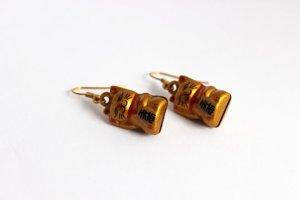 Maneki - Neko Winkekatze Ohrringe Gold Glöckchen