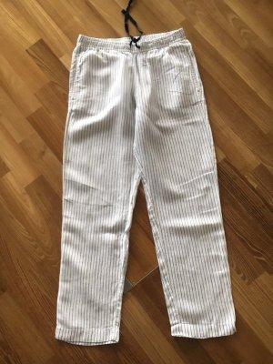 Mango Pantalón de lino blanco-gris oscuro Lino
