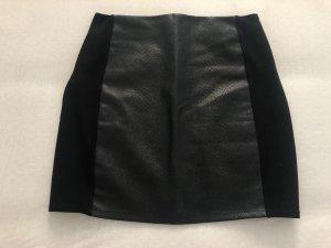 Mango Falda de cuero de imitación negro
