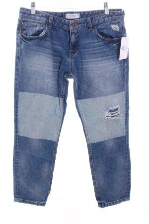 Mango 7/8 Jeans graublau-blassblau Used-Optik