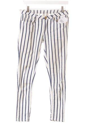 Mango 7/8 Jeans weiß-dunkelblau Streifenmuster Casual-Look