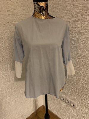 Mango Shirt met korte mouwen azuur-wit