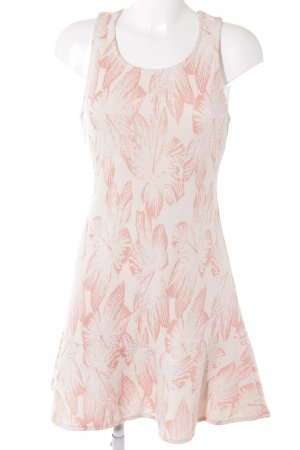 Mango A-Linien Kleid weiß-apricot florales Muster Beach-Look