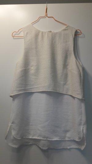 Mango ärmellose 2-Lagen Bluse Crop-Effekt Cremeweiß Glitzerfäden Gr. S