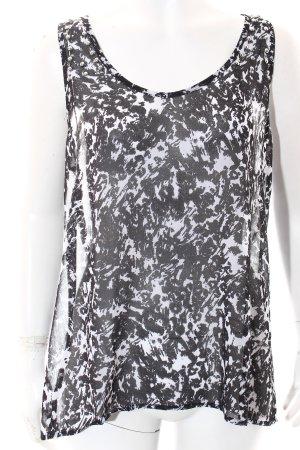 Mango ärmellose Bluse schwarz-weiß Casual-Look
