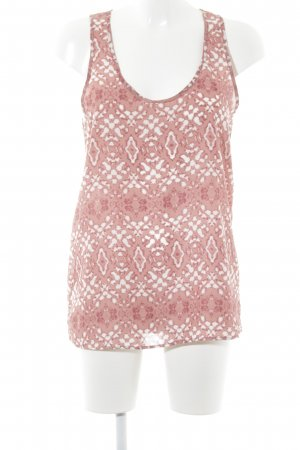 Mango ärmellose Bluse weiß-rostrot abstraktes Muster Casual-Look