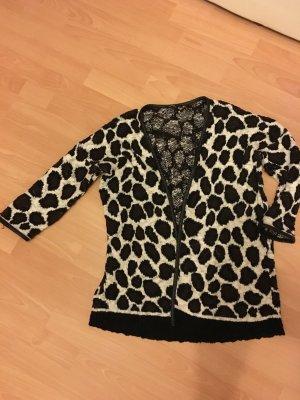 Mango Animalprint Leo Giraffe Cardigan Jacke Leder Oversize L 38 braun schwarz