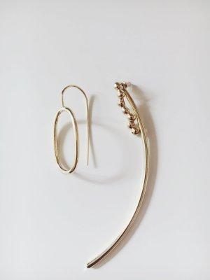 Mango asymmetrische Ohrringe lang gold minimalistisch Blogger Statement
