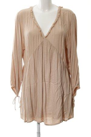 Mango Babydoll Dress nude weave pattern '70s style