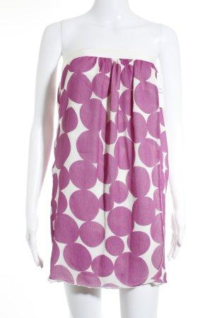 Mango Bandeaukleid weiß-pink Punktemuster extravaganter Stil