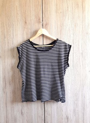 Mango Basic Casual Shirt gestreift schwarz weiß Gr. S