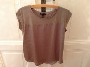 Mango Basic- Top mit Glanz, Farbe Taupe