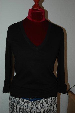 Mango Basic V-Ausschnitt-Pullover schwarz klassischer Stil