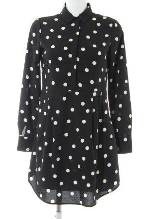 Mango Basics Blusenkleid schwarz-weiß Punktemuster 50ies-Stil