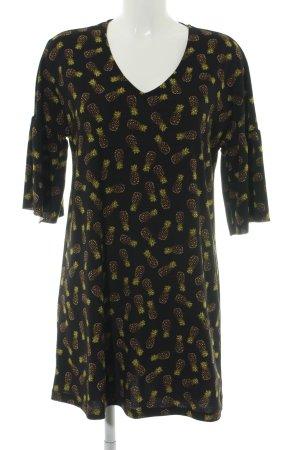 Mango Basics Jerseykleid schwarz-blassgelb Blumenmuster Casual-Look