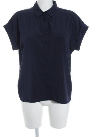 Mango Basics Kurzarm-Bluse dunkelblau Casual-Look