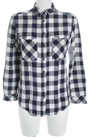 Mango Basics Langarm-Bluse dunkelblau-weiß Karomuster Casual-Look