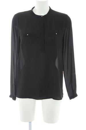 Mango Basics Langarm-Bluse schwarz Casual-Look