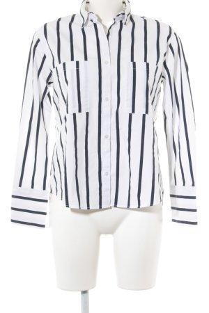 Mango Basics Langarm-Bluse weiß-dunkelblau Streifenmuster Business-Look