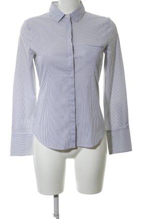 Mango Basics Langarmhemd weiß-blau Allover-Druck Business-Look