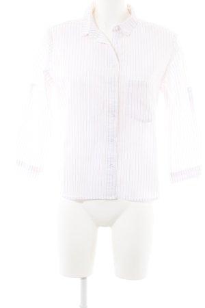 Mango Basics Langarmhemd weiß-magenta Nadelstreifen Perlmuttknöpfe