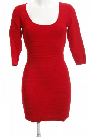 Mango Basics Langarmkleid rot Streifenmuster Business-Look