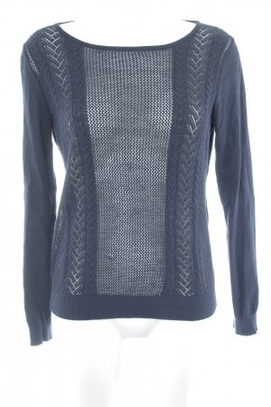 Mango Basics Crewneck Sweater dark blue loosely knitted pattern casual look
