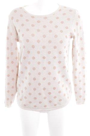 Mango Basics Rundhalspullover roségoldfarben-creme Punktemuster Romantik-Look